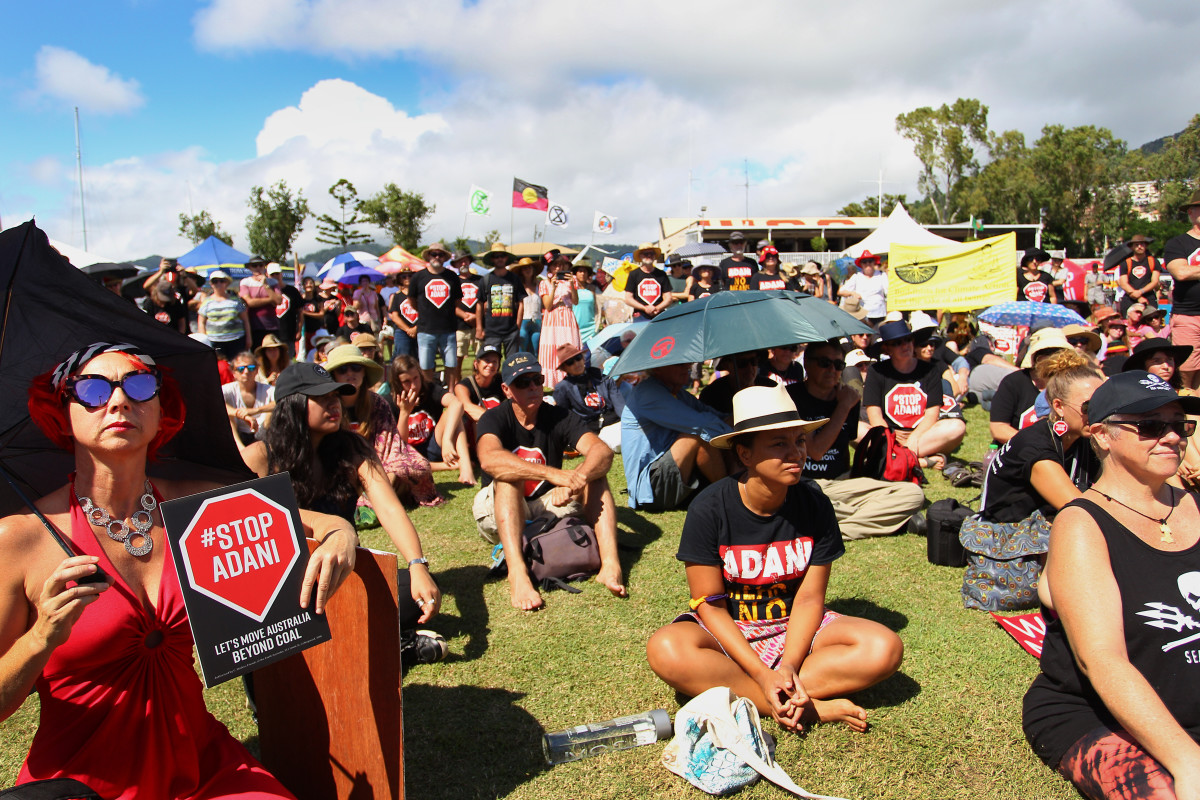 Environmental activists and members of the public attend an anti-Adani Carmichael coal mine rally on April 26th, 2019, in Airlie Beach, Australia.
