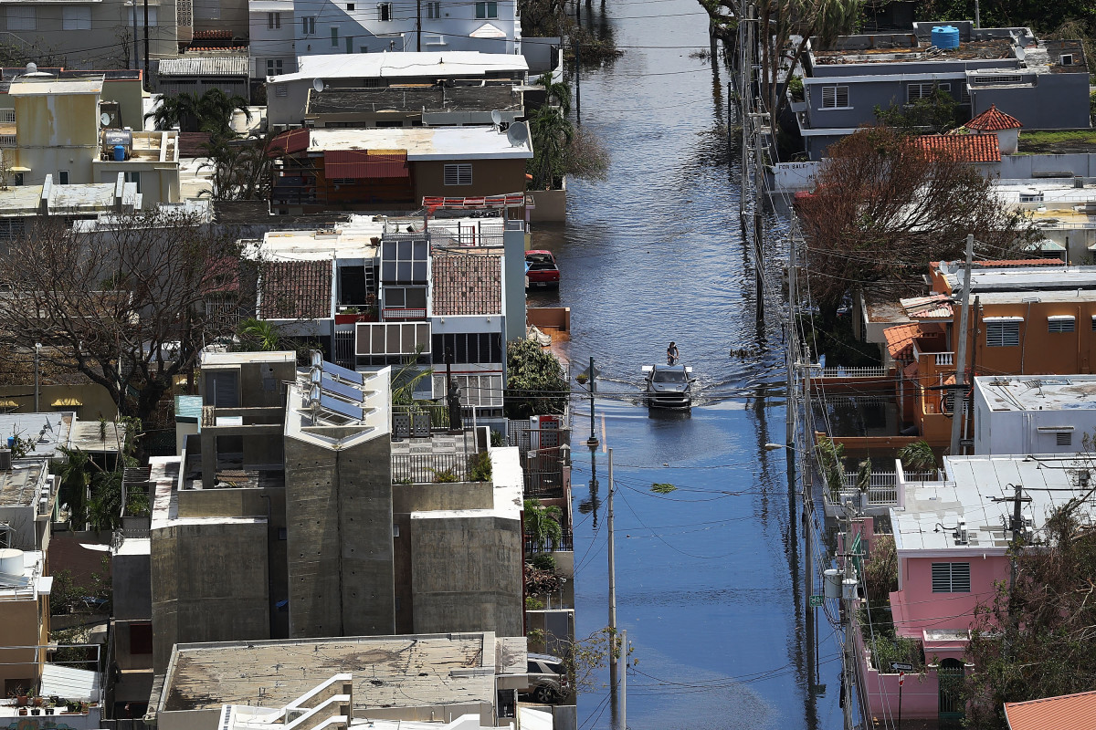 A flooded street San Juan, Puerto Rico, in the aftermath of Hurricane Maria.