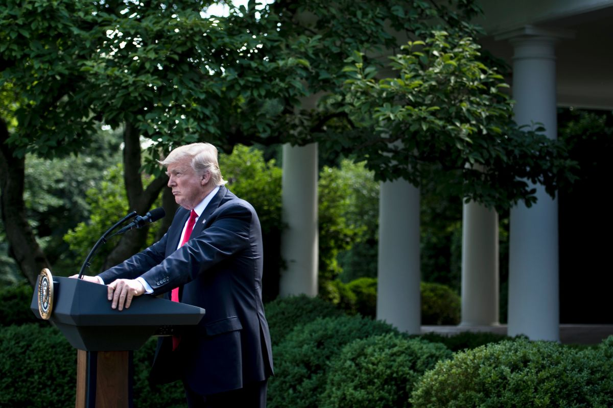 President Donald Trump announces his decision to withdraw the U.S. from the Paris Climate Accords in the Rose Garden of the White House in Washington, D.C., on June 1st, 2017.