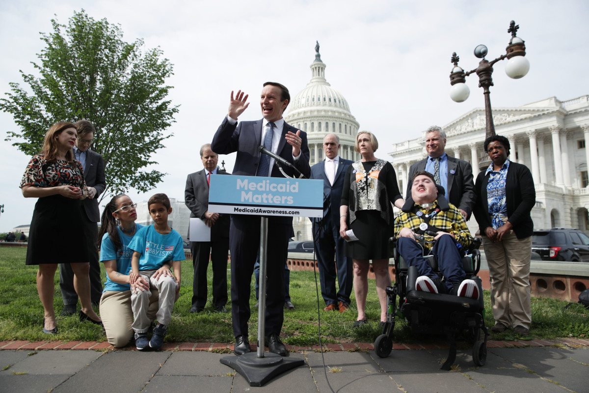 United States Senator Chris Murphy (D-Connecticut) speaks during a news conference on health care on April 30th, 2019, on Capitol Hill in Washington, D.C. Senate Democrats held the news conference to call on Congress to protect Medicaid.