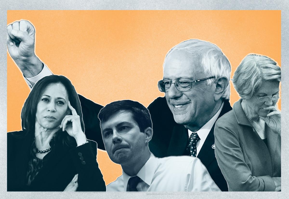 From left to right: Kamala Harris, Pete Buttigieg, Bernie Sanders, and Elizabeth Warren.