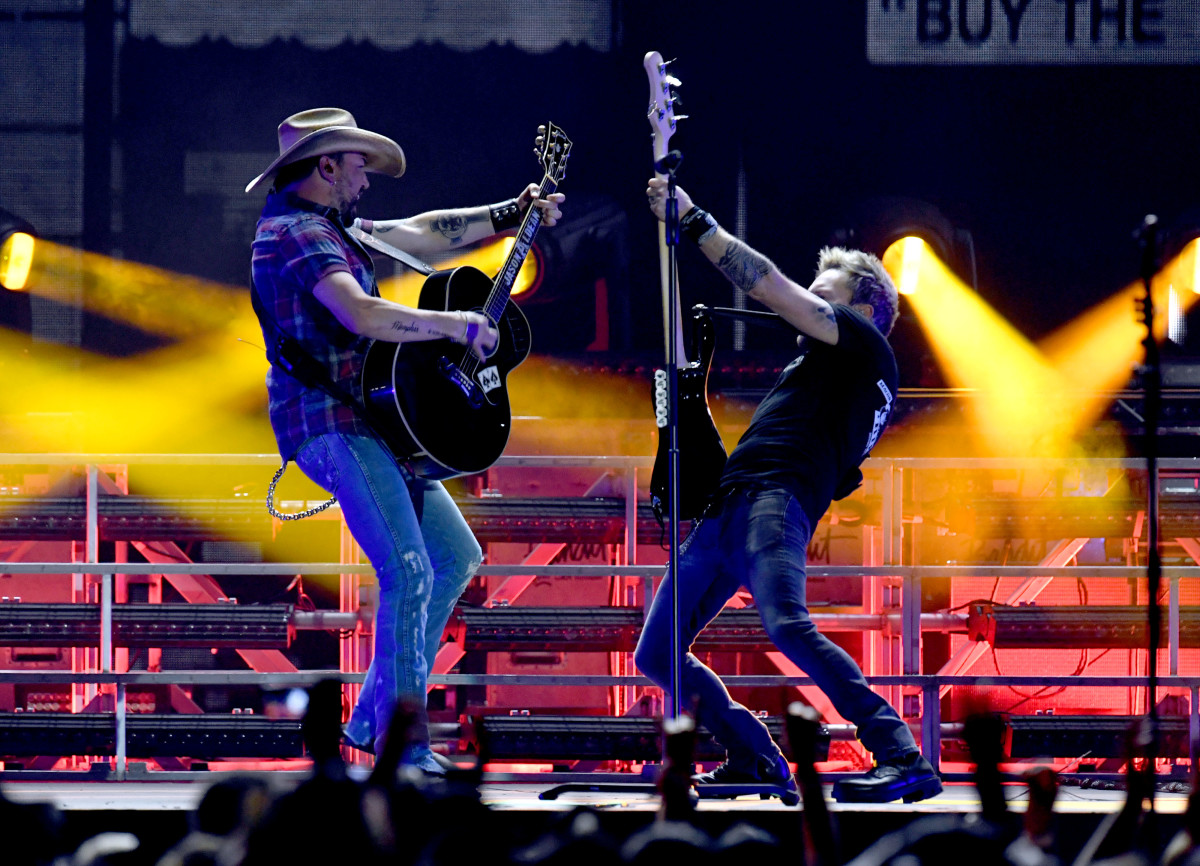 Jason Aldean performs during the Stagecoach Festival at Empire Polo Field on April 28th, 2019, in Indio, California.
