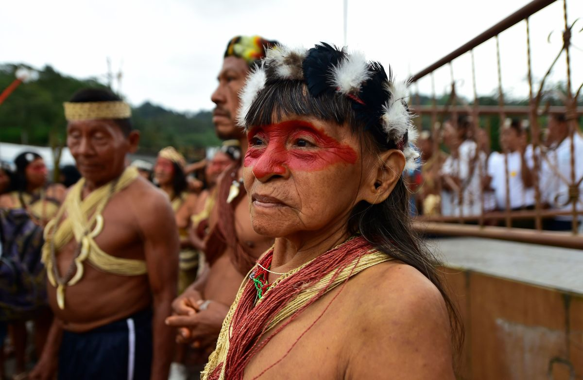 Waorani indigenous people march toward the provincial court to demand the non-exploitation of oil in their territory, in Puyo, Ecuador, on April 11th, 2019.