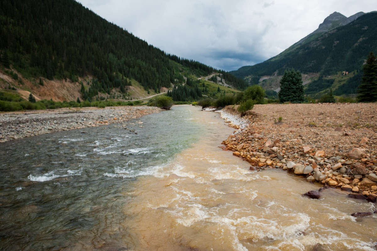 Cement Creek meets the Animas River in Silverton, Colorado.