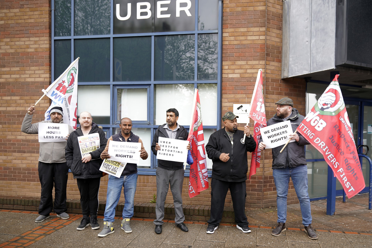 Uber drivers protest outside the Uber offices on May 8th, 2019, in Birmingham, England.