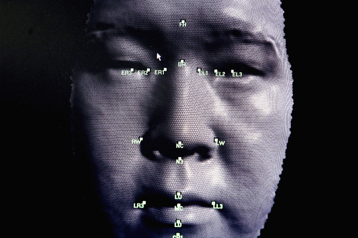 A 3-D facial-recognition program is demonstrated during the Biometrics 2004 exhibition and conference.